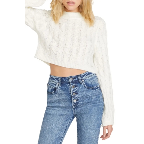 Volcom Sweater Small White Cable Knit Cropped